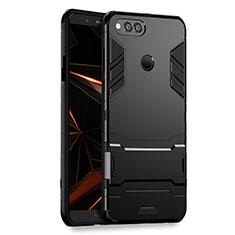 Coque Contour Silicone et Plastique Mat avec Support pour Huawei Honor 7X Noir
