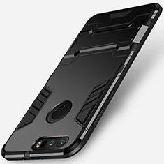 Coque Contour Silicone et Plastique Mat avec Support pour Huawei Honor 8 Noir
