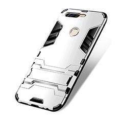 Coque Contour Silicone et Plastique Mat avec Support pour Huawei Honor 8 Pro Blanc