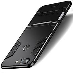 Coque Contour Silicone et Plastique Mat avec Support pour Huawei Honor 9 Lite Noir