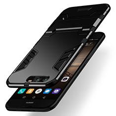 Coque Contour Silicone et Plastique Mat avec Support pour Huawei Honor 9 Noir