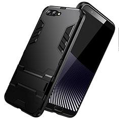 Coque Contour Silicone et Plastique Mat avec Support pour Huawei Honor V10 Noir