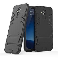 Coque Contour Silicone et Plastique Mat avec Support pour Huawei Mate 20 Lite Noir