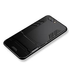 Coque Contour Silicone et Plastique Mat avec Support pour Huawei Nova 2S Noir