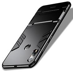 Coque Contour Silicone et Plastique Mat avec Support pour Huawei Nova 3e Noir