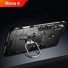 Coque Contour Silicone et Plastique Mat avec Support pour Huawei Nova 4 Noir