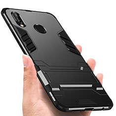 Coque Contour Silicone et Plastique Mat avec Support pour Huawei P Smart+ Plus Noir