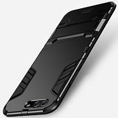 Coque Contour Silicone et Plastique Mat avec Support pour Huawei P10 Plus Noir