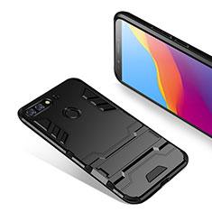 Coque Contour Silicone et Plastique Mat avec Support pour Huawei Y7 (2018) Noir