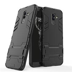 Coque Contour Silicone et Plastique Mat avec Support pour Samsung Galaxy A6 Plus Noir
