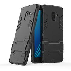 Coque Contour Silicone et Plastique Mat avec Support pour Samsung Galaxy A8+ A8 Plus (2018) A730F Noir