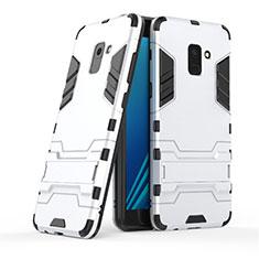 Coque Contour Silicone et Plastique Mat avec Support pour Samsung Galaxy A8+ A8 Plus (2018) Duos A730F Blanc