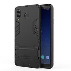 Coque Contour Silicone et Plastique Mat avec Support pour Samsung Galaxy A8 Star Noir