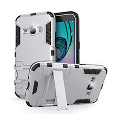 Coque Contour Silicone et Plastique Mat avec Support pour Samsung Galaxy J1 (2016) J120F Blanc