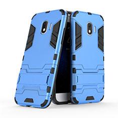 Coque Contour Silicone et Plastique Mat avec Support pour Samsung Galaxy J2 Pro (2018) J250F Bleu