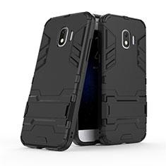 Coque Contour Silicone et Plastique Mat avec Support pour Samsung Galaxy J2 Pro (2018) J250F Noir