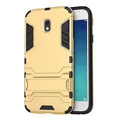 Coque Contour Silicone et Plastique Mat avec Support pour Samsung Galaxy J3 (2017) J330F DS Or