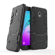 Coque Contour Silicone et Plastique Mat avec Support pour Samsung Galaxy J3 (2018) SM-J377A Noir