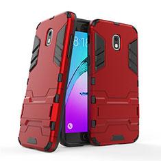 Coque Contour Silicone et Plastique Mat avec Support pour Samsung Galaxy J3 Star Rouge