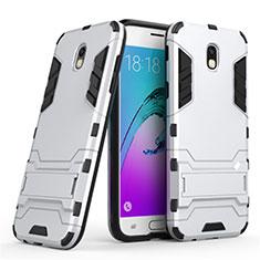 Coque Contour Silicone et Plastique Mat avec Support pour Samsung Galaxy J5 (2017) Duos J530F Blanc