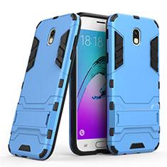 Coque Contour Silicone et Plastique Mat avec Support pour Samsung Galaxy J5 (2017) Duos J530F Bleu