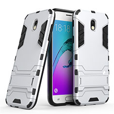 Coque Contour Silicone et Plastique Mat avec Support pour Samsung Galaxy J5 (2017) SM-J750F Blanc