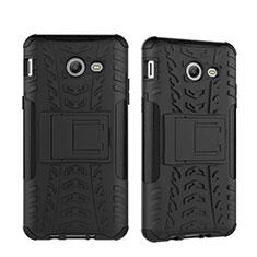 Coque Contour Silicone et Plastique Mat avec Support pour Samsung Galaxy J5 (2017) Version Americaine Noir