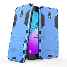 Coque Contour Silicone et Plastique Mat avec Support pour Samsung Galaxy J7 (2018) J737 Bleu
