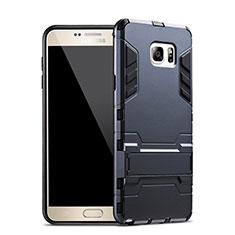 Coque Contour Silicone et Plastique Mat avec Support pour Samsung Galaxy Note 5 N9200 N920 N920F Bleu