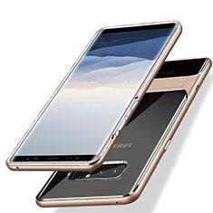 Coque Contour Silicone et Plastique Mat avec Support pour Samsung Galaxy Note 8 Duos N950F Or