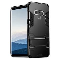 Coque Contour Silicone et Plastique Mat avec Support pour Samsung Galaxy Note 9 Noir