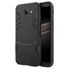 Coque Contour Silicone et Plastique Mat avec Support pour Samsung Galaxy On6 (2018) J600F J600G Noir