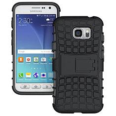Coque Contour Silicone et Plastique Mat avec Support pour Samsung Galaxy S7 Active G891A Noir