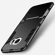 Coque Contour Silicone et Plastique Mat avec Support pour Samsung Galaxy S7 Edge G935F Noir