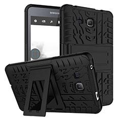 Coque Contour Silicone et Plastique Mat avec Support pour Samsung Galaxy Tab A6 7.0 SM-T280 SM-T285 Noir