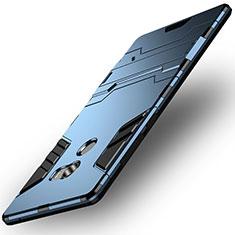 Coque Contour Silicone et Plastique Mat avec Support pour Xiaomi Mi Mix 2 Bleu
