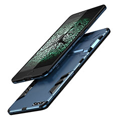 Coque Contour Silicone et Plastique Mat avec Support pour Xiaomi Mi Note 3 Bleu