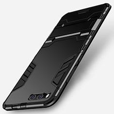 Coque Contour Silicone et Plastique Mat avec Support pour Xiaomi Mi Note 3 Noir