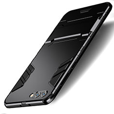 Coque Contour Silicone et Plastique Mat avec Support R01 pour Huawei Honor V10 Noir