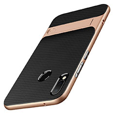 Coque Contour Silicone et Plastique Mat avec Support W01 pour Huawei P20 Lite Or et Noir
