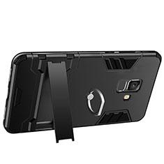 Coque Contour Silicone et Plastique Mat avec Support W01 pour Samsung Galaxy A6 (2018) Dual SIM Noir