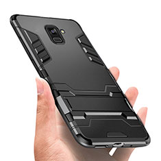 Coque Contour Silicone et Plastique Mat avec Support W01 pour Samsung Galaxy A8+ A8 Plus (2018) A730F Noir