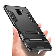 Coque Contour Silicone et Plastique Mat avec Support W01 pour Samsung Galaxy On6 (2018) J600F J600G Noir