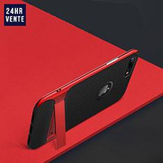 Coque Contour Silicone et Plastique Mat avec Support W03 pour Apple iPhone 8 Plus Rouge