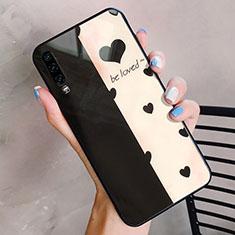 Coque Contour Silicone et Vitre Amour Coeur Miroir Etui Housse pour Huawei P30 Or et Noir