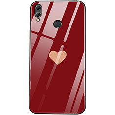Coque Contour Silicone et Vitre Amour Coeur Miroir S04 pour Huawei Honor View 10 Lite Rouge