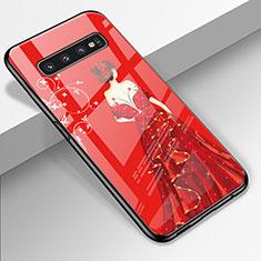 Coque Contour Silicone et Vitre Dos de Fille Miroir Etui Housse K01 pour Samsung Galaxy S10 Rouge