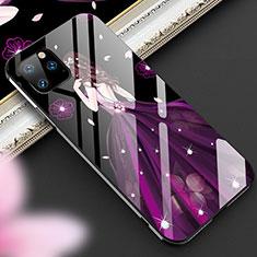 Coque Contour Silicone et Vitre Dos de Fille Miroir Etui Housse M01 pour Apple iPhone 11 Pro Violet