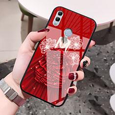 Coque Contour Silicone et Vitre Dos de Fille Miroir Etui Housse pour Huawei Honor 10 Lite Rouge