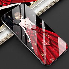 Coque Contour Silicone et Vitre Dos de Fille Miroir Etui Housse pour Huawei P30 Pro Rouge